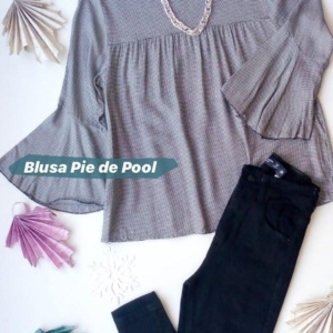 Blusa Pie de Pool manga 3/4 + Jean denim VERTU negro