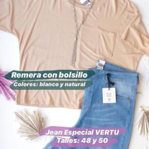 Remera con bolsillo + Jean talle especial azul VERTU